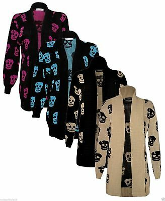 New Womens Skull Print Long Sleeve Knitted Ladies PLUS SIZE Cardigan Jumper 8-24