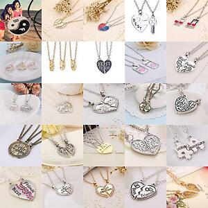 2pcs/3pcs Best Friends Bitches Forever Heart Friendship Necklace Pendant Chain