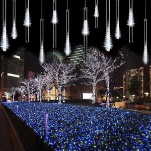 LED-Lights-Meteor-Shower-Rain-Tube-Chrismas-String-Decoration-Light-Bar-White-US