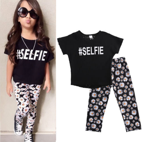 Kids Baby Girls Summer Outfits T-shirt Tops Pants Leggings Jeans Clothes Set