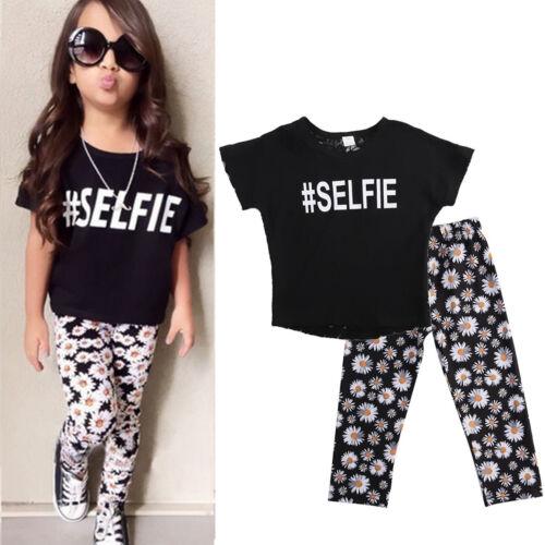 2pcs Kids Baby Girls Outfits Casual T-shirt Tops Long Pants Leggings Clothes Set