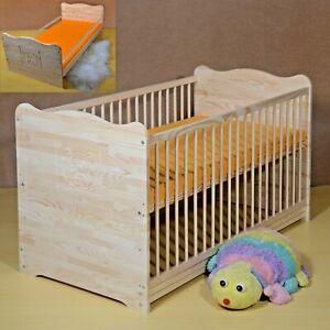 Gitterbett Babybett Set Komplett Juniorbett 2in1 Matratze 60x120cm Massiv Gravur