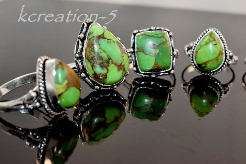 10 Pcs. Natural Green Copper Turquoise Gemstone 925 Silver Plated Rings Bulk Lot