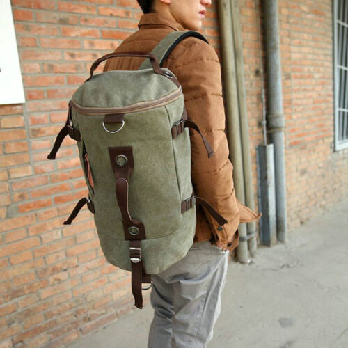 Men Vintage Leather Canvas Travel Backpack Luggage Duffle Bag Weekend Overnight