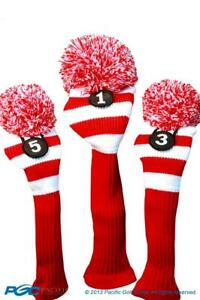 Tour-1-3-5-Driver-Fairway-Wood-Red-amp-White-Golf-Headcover-Knit-Pom-Pom-Cover