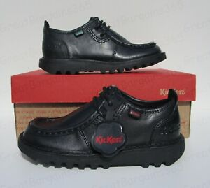RRP £45 NEW FRONT Boys Black Leather Lace Up School Shoes Sz UK 1-3