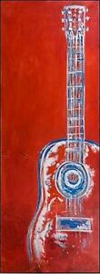 Studio-B-moderne-rouge-Abstract-guitare-image-chassis-TOILE-MUSIQUE-GUITARE