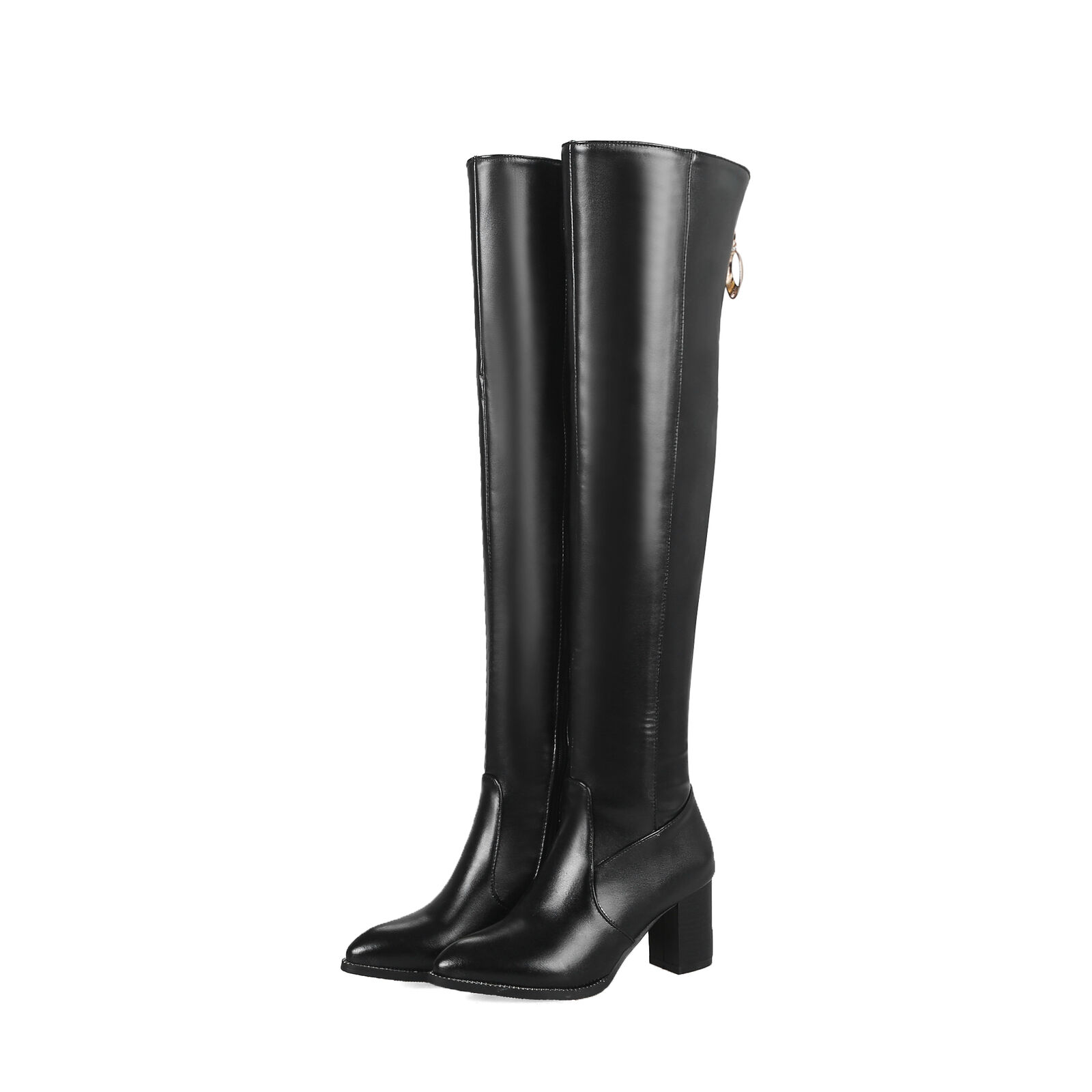 Schick Damen PU Overkneestiefel Schuhe Spitz zehe Blockabsatz PU Damen Leder Boots 33-48 cb3d74