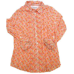 Aeropostale-Shirt-Womens-Casual-Button-Up-Long-Sleeve-Flowers-Ruffles-V209