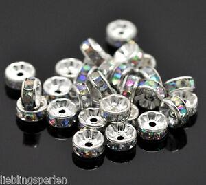 100-Versilbert-Farben-Acryl-Strass-Rondell-Spacer-Perlen-Beads-8mm-on