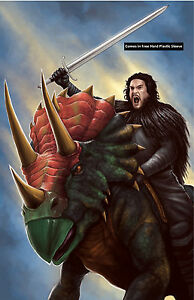 Game-of-Thrones-Jon-Snow-Triceratops-Glossy-Print-11-x-17-In-Hard-Plastic-Sleeve