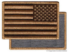 American Flag Embroidered Patch Reverse Tan Brown W/ Velcro BRAND Fastener