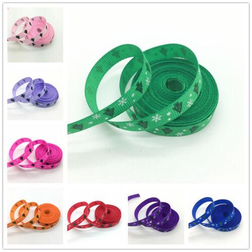 "5yds 3//8/"" 10mm Printing Christmas Grosgrain Ribbon Hair Bow DIY Sewing #201-210"