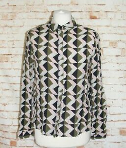 Topshop-geometric-print-blouse-size-10-long-sleeve-collared-loose-fit-green-pink