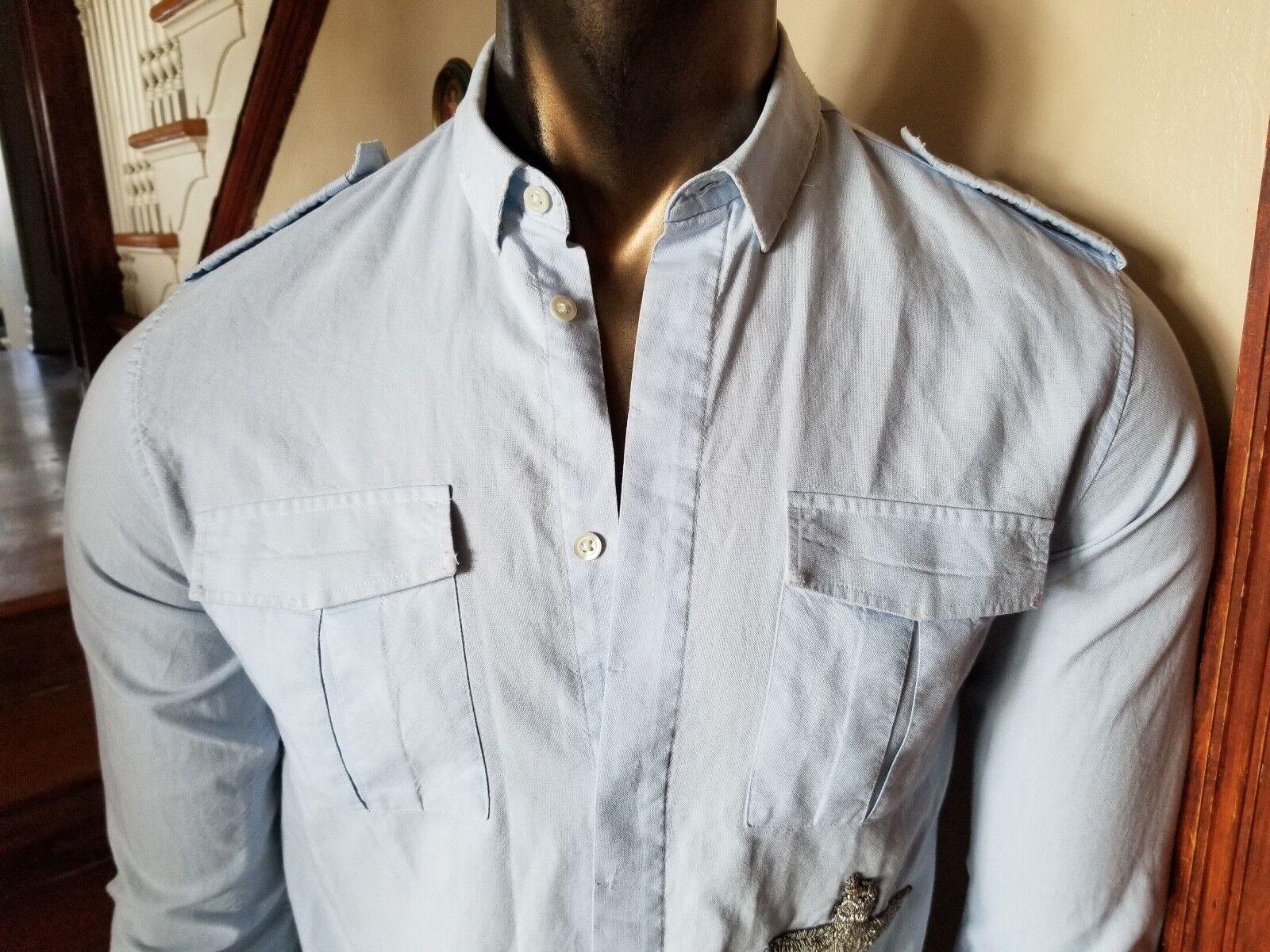 Balmain Splendido Hot Stile Militare Camicia Logori Design - Taglia 15 1 2