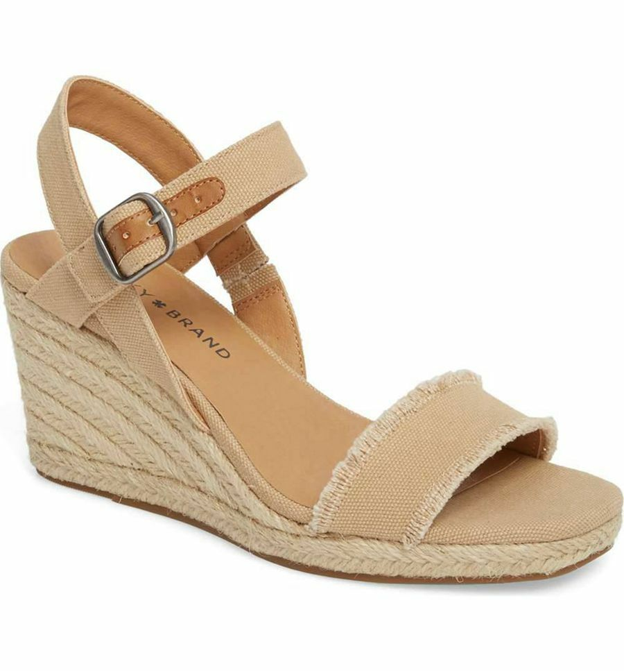 NIB LUCKY BRAND MARCELINE TRAVERTINE HEAVY CANVAS SANDALS WEDGE SHOES 6-10