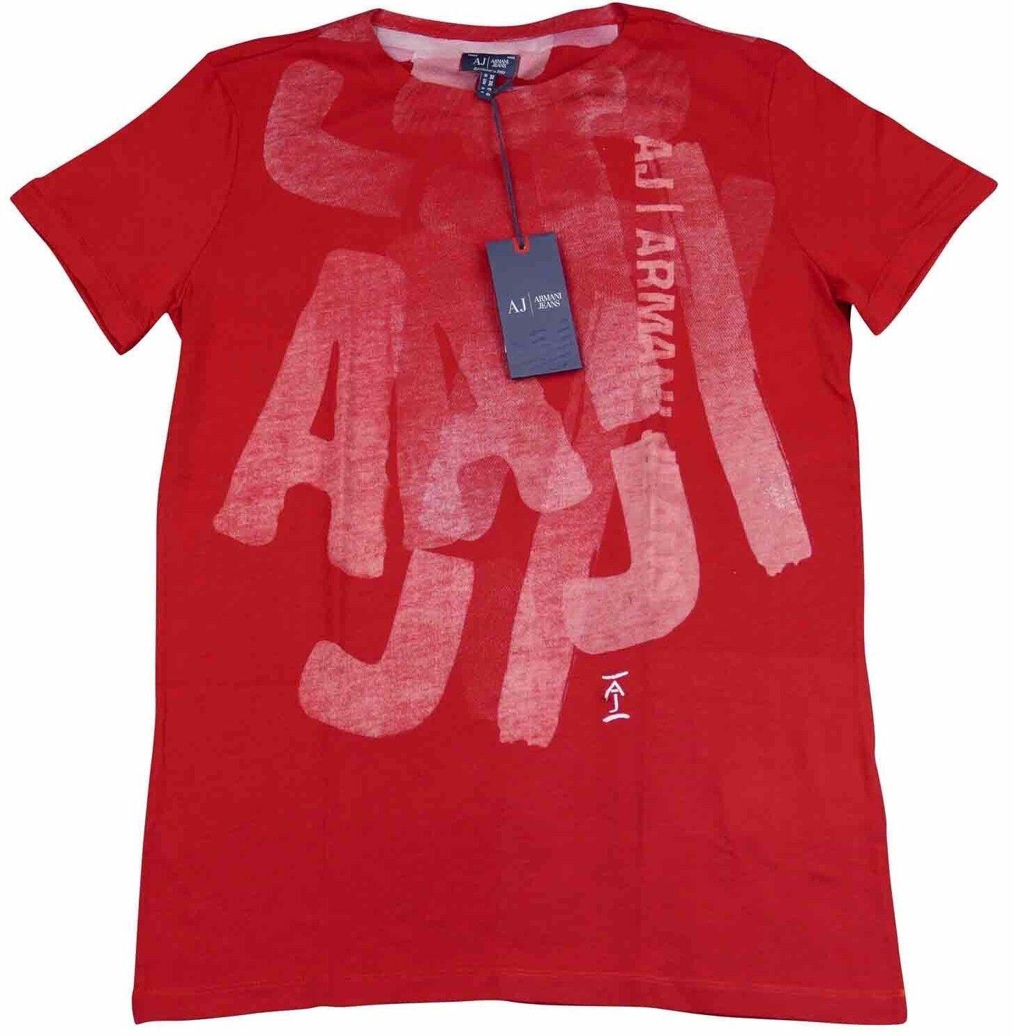 Armani Jeans Herren Rot Weiß Groß Aj Logo H/S T-Shirt - Sz XXL & Neu mit Etikett