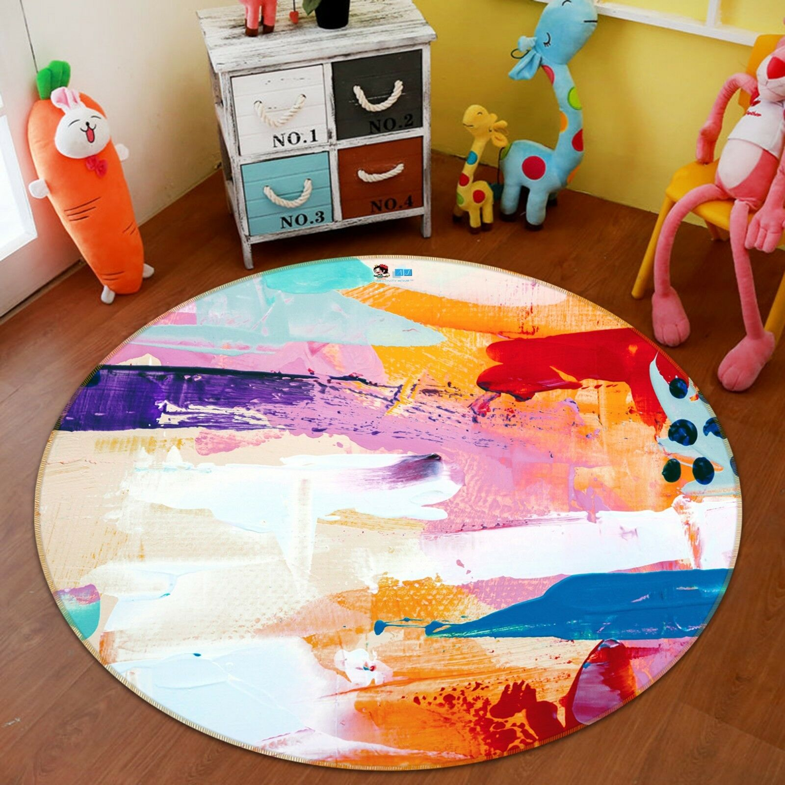 3D Coloree Graffiti 82 Non Slip Rug Room Mat Round Quality Elegant Photo Carpet UK
