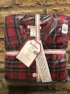 New Pottery Barn Kids Tartan Plaid Adult Loose Fit Pajama Size Medium Christmas