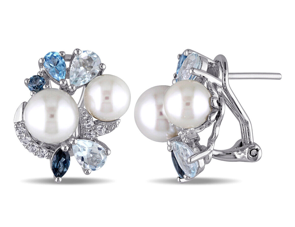 White Freshwater Cultured Pearl with Created White Sapphire, blueeee Topaz 3 1 2 Ca