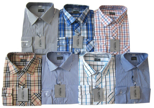 Boys Formal Shirts Smart Long Sleeved Check or Striped Casual Shirt Ages 1-15Y