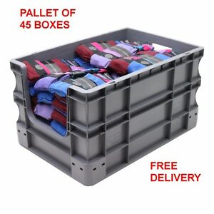 NEW 45 x 65 Litre Open Front Grey Plastic Euro Storage Container