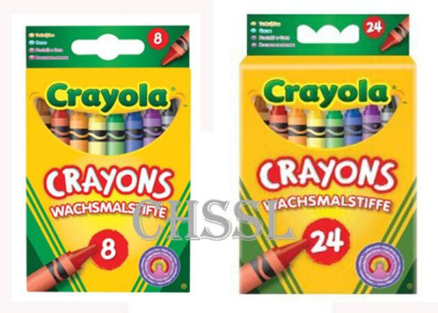Crayola Beginnings 8 OR 24 Assorted Wax Crayons Colouring Crayons