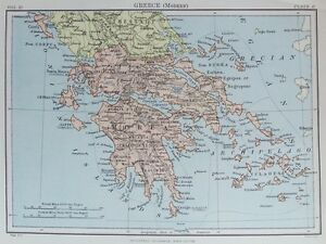 Old antique map greece greek islands c1880s by johnston 19th c image is loading old antique map greece greek islands c1880 039 gumiabroncs Images