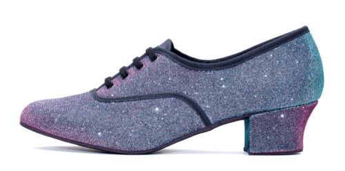 Multi Glitter Cuban Heel Suede Sole Lace Up Practice Stage Ballroom Shoes Katz