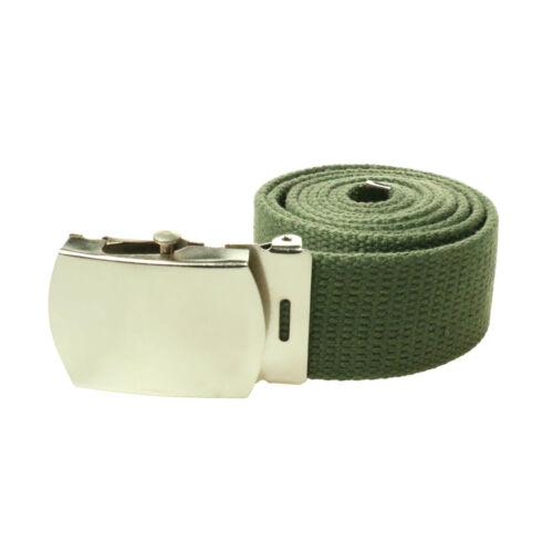 Unisex 30mm//40mm Webbing Casual Canvas Military Plain Buckle Belt UK Seller