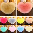 Heart Soft Rabbit Fur Ball PomPom Cell Phone Car Pendant Handbag Key Chain Ring