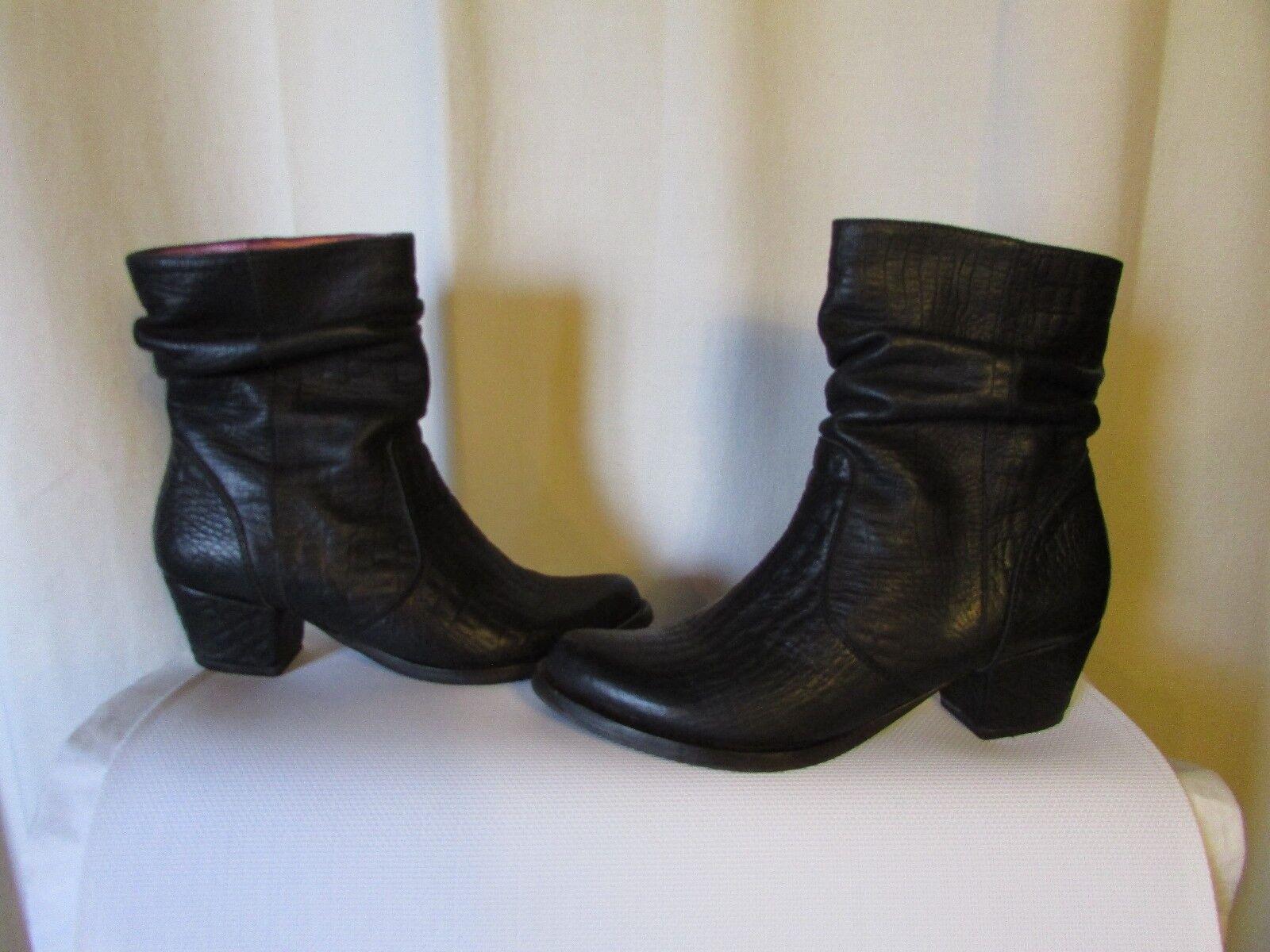 Stiefel   Stiefletten Espace Leder Stil Kroko Schwarz Größe 37,5