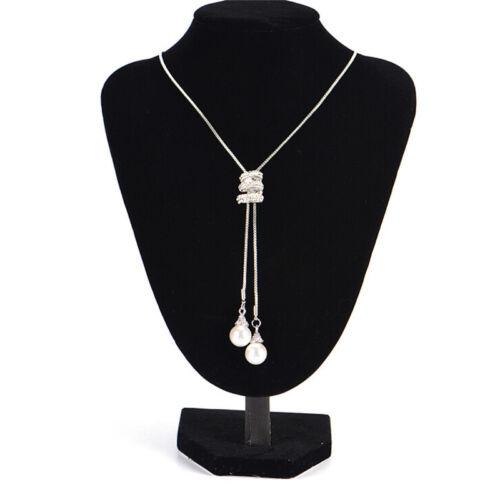 Long Pearl Strass Pendentif Chandail Chaîne Cristal Collier Bijoux Fashion 0tm