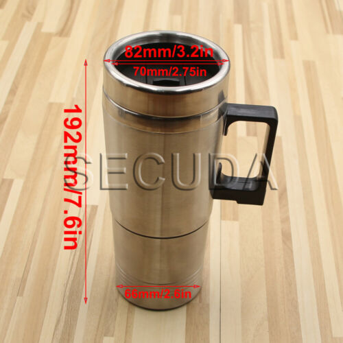 12v In-Car Thermos Thermal Heated Travel Mug Cup Plug Heater Camping Coffee Tea