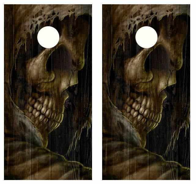 Grim Reaper Barnwood Cornhole Board Wraps FREE SQUEEGEE   best prices and freshest styles