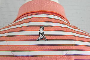 Men-039-s-Ping-Peach-Striped-Golf-Polo-Shirt-With-Logo-Large