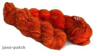1 x 100g skein - Ministry of Yarn Recycled Spun Silk Sari Yarn - Burnt Orange