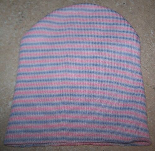 10 NEWBORN BABY HOSPITAL HATS 2 PLY KNIT BLUE PINK WHITE STRIPE Beanie Bonnet