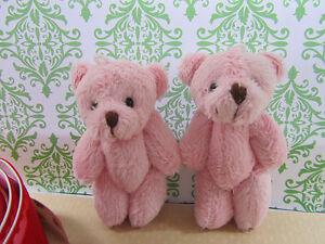 "6 Little Furry Teddy Bear 3.5"" Miniature Craft Doll/Baby Shower Favors H121-Pink"