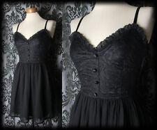 Gothic Black Lace Fitted NOSTALGIC Full Skirt Strap Dress 8 10 Vintage Romantic
