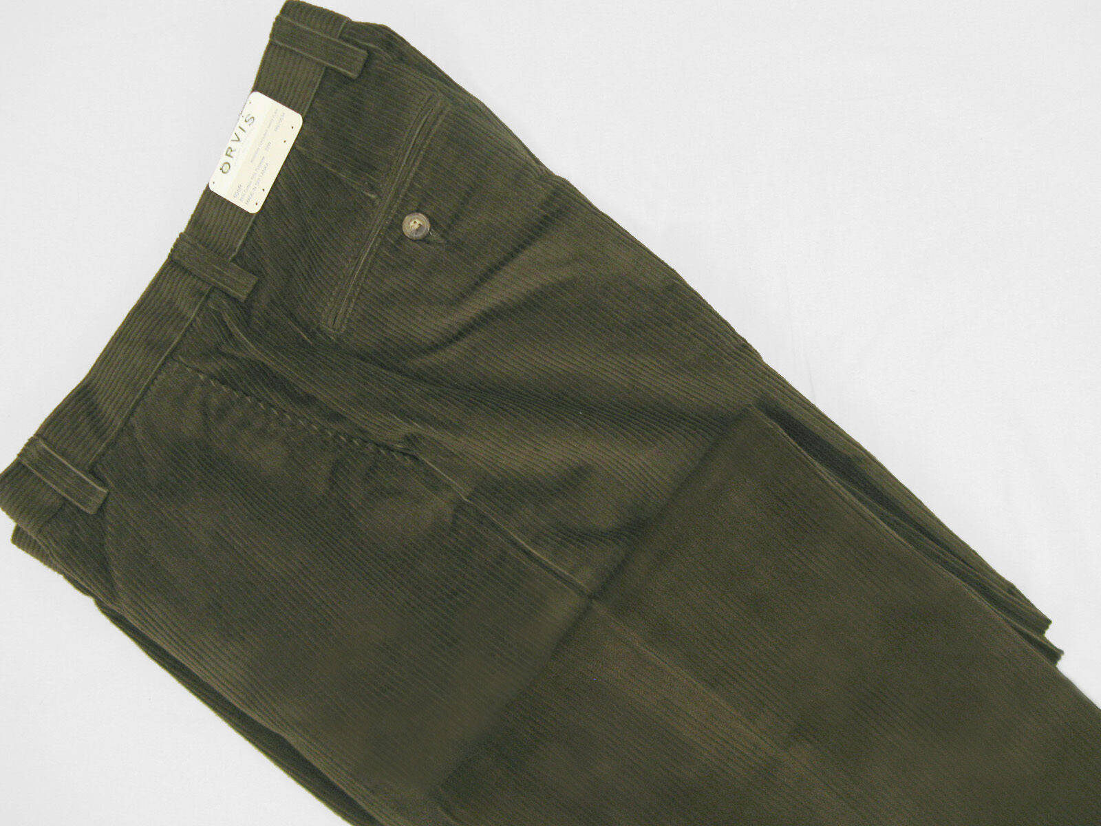 NEW  Orvis Stretch Super Cords Pants   34  Plain Front  Green See Note