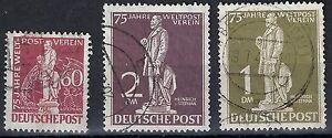 GERMANY-1949-UPU-75th-ANNIV-HIGH-VALUES-USED-Sc-9N39-9N41-VERY-FINE