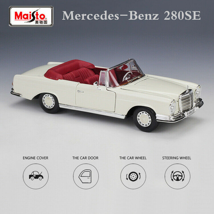 Vintage 1:18 Scale 1967 Mercedes-Benz 280SE Cream Diecast Model Car Metal Toys