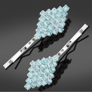 UK Seller NEW Beautiful Pair of Turquoise Diamante Hair Clips