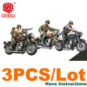 WW2-WWII-Military-Motorcycle-Army-US-USSR-Weapon-Fit-Minifigures-Mega-Bloks