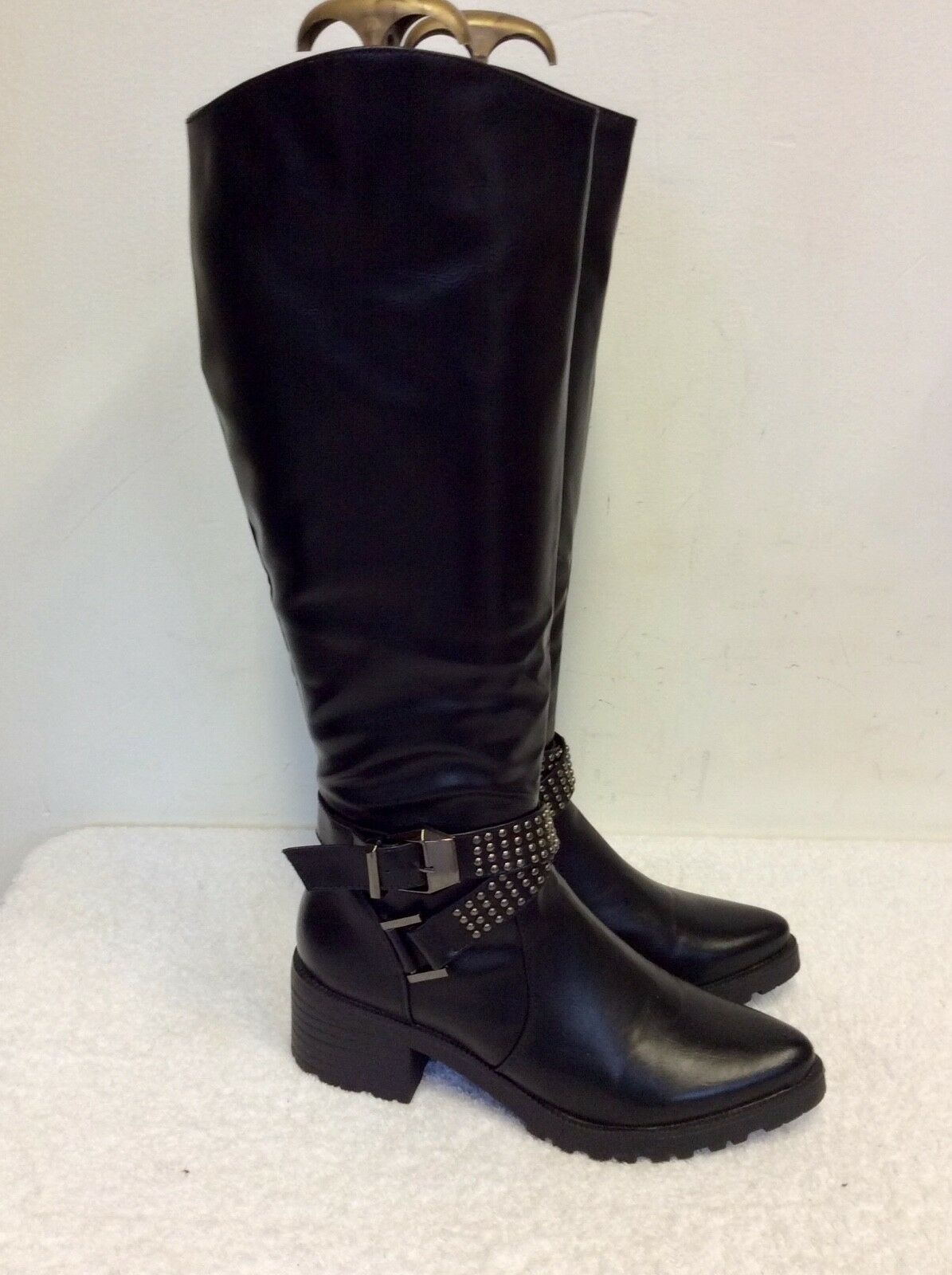 Moda barata y hermosa Totalmente Tachonado Nuevo Zapatos Ideal Negro Tachonado Totalmente Hebilla de ajuste a la rodilla botas /38 3be723