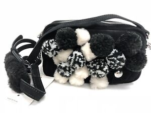 Ugg-Australia-Janey-Pom-Pom-Crossbody-Purse-Black-Floral-1093564-Women-039-s