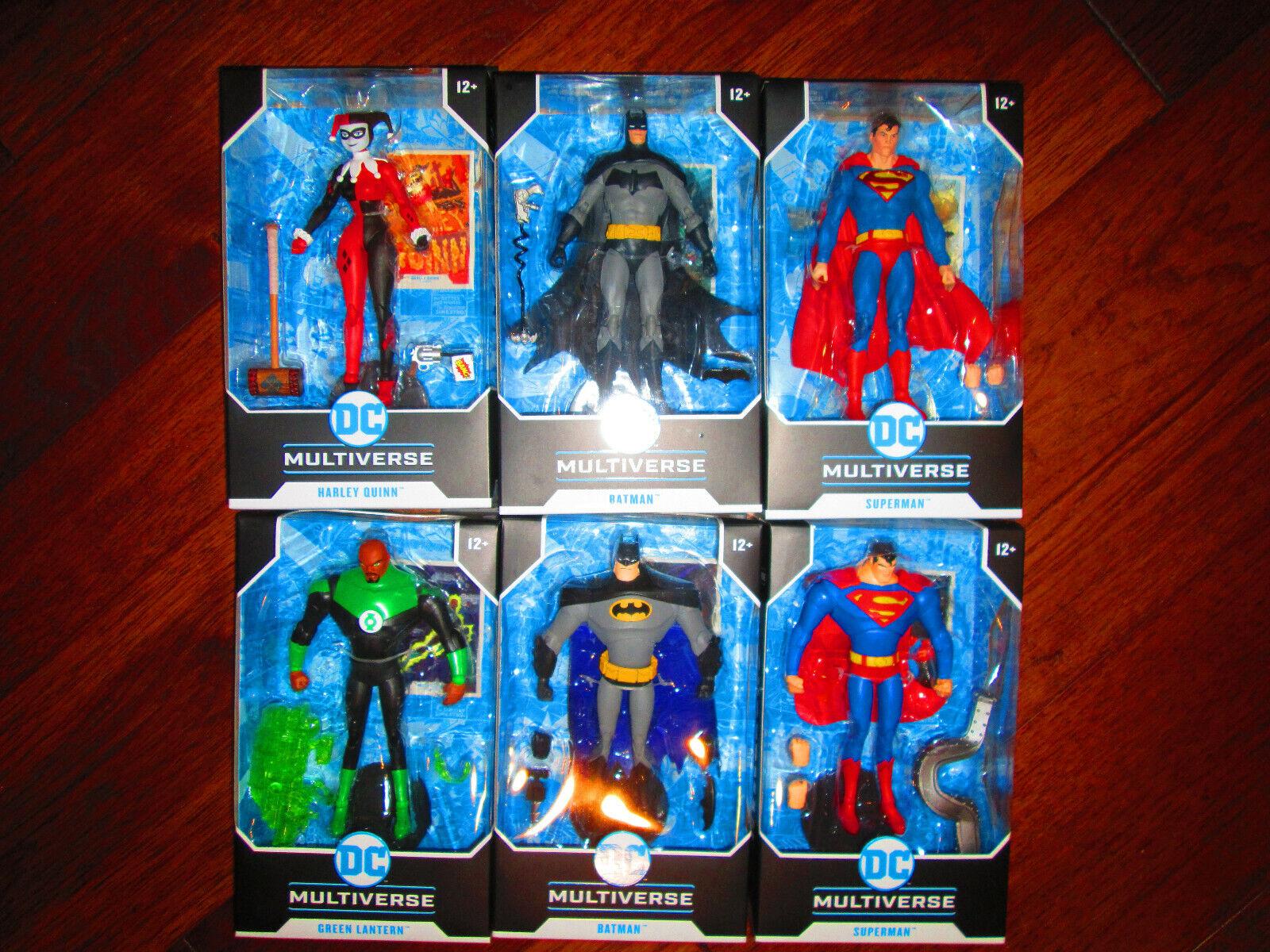 DC Multiverse Full Set of 6 McFarlane Batman Superman Harley Quinn Grün Lantern