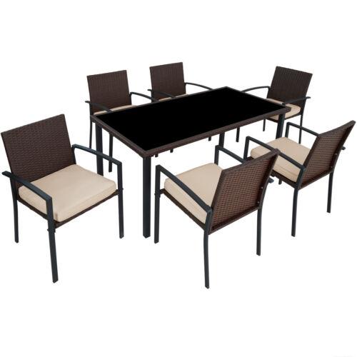 Poly Rattan Gartenmöbel Set Garnitur Sitzgarnitur Stuhl Tisch Essgruppe 6+1
