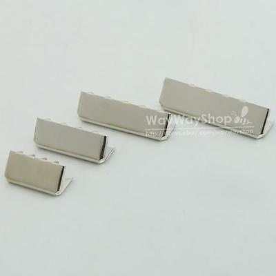 "Nickel Belt Buckle End Tip 4 Webbing Tag Bag 0.75"" 1"" 1.25"" 1.5"" 25mm 32mm 38mm"